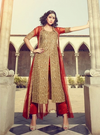Beige and red silk long koti style wedding wear suit