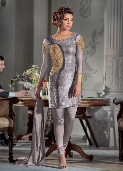Gorgeous Priyanka Chopra Grey color Georgette straight cut salwar kameez