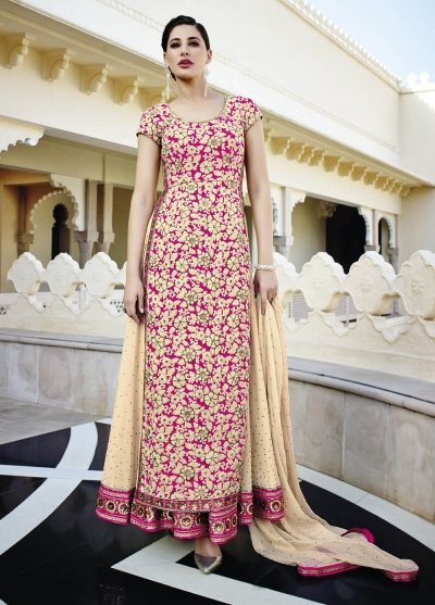 Nargis Fakhri cream and pink  georgette party wear lehenga style kameez