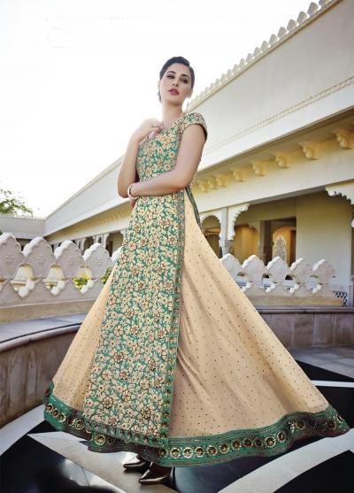 Nargis Fakhri cream and green georgette party wear lehenga style kameez