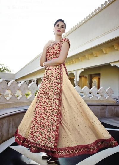 Beautiful Nargis Fakhri cream and red georgette party wear lehenga style kameez