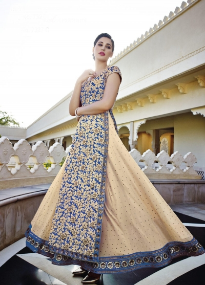 Nargis Fakhri cream and blue georgette party wear lehenga style kameez