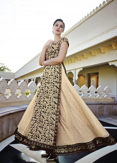 Nargis Fakhri cream and black georgette party wear lehenga style kameez