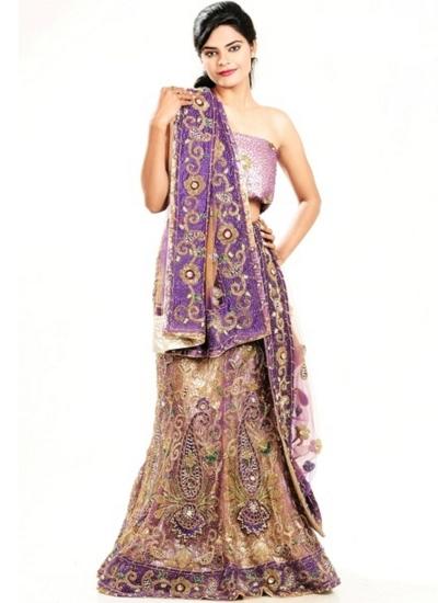 Cream and purple netted designer wedding lehenga
