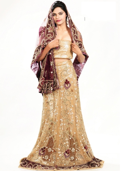 Cream and maroon color netted designer wedding lehenga