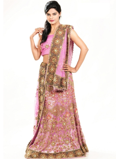 Light rose net designer wedding lehenga