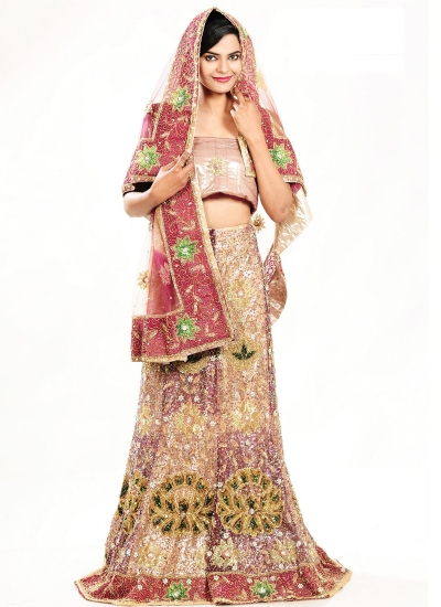 Cream and pink net designer wedding lehenga
