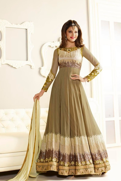 Grey color faux georgette party wear anarkali