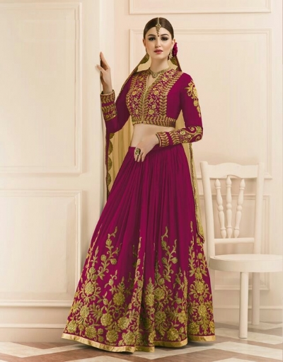 Magenta color mudal silk wedding lehenga