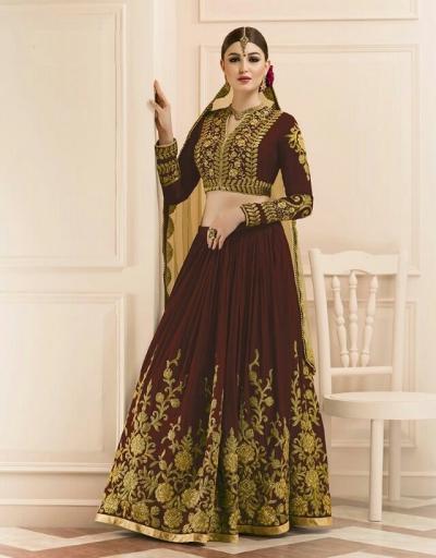 Brown color mudal silk wedding lehenga