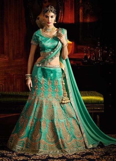 Sea green silk designer wedding lehenga