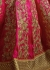 Pink and lemon green silk wedding lehenga choli