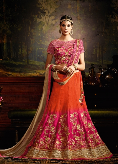 Orange and pink shaded silk wedding lehenga choli