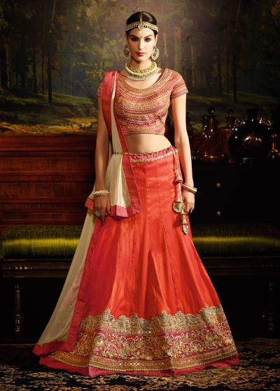 Orange color silk wedding lehenga choli