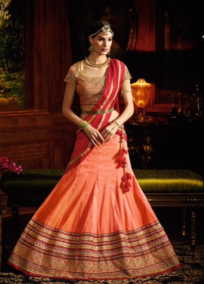 Peach and red silk wedding lehenga choli