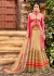 Beige and pink netted wedding lehenga choli