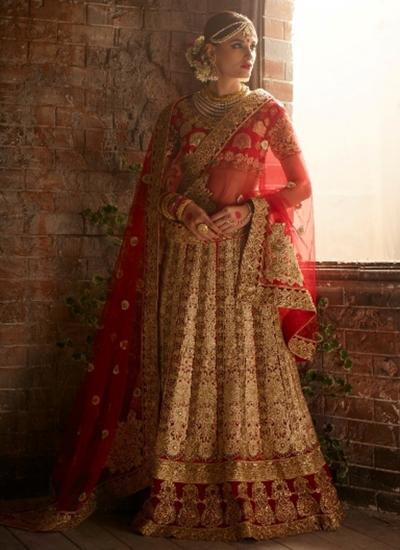Beige and red color net bridal lehenga choli