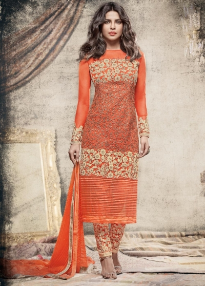 Priyanka Chopra Party wear Suit in Orange color