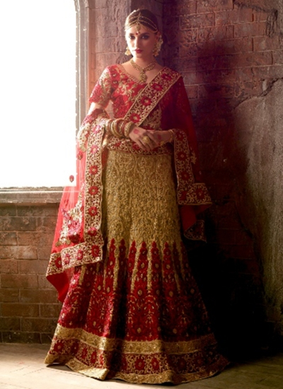 Cream and red net bridal lehenga choli