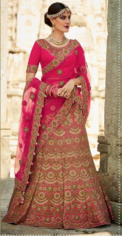 Fushcia color silk bridal lehenga choli