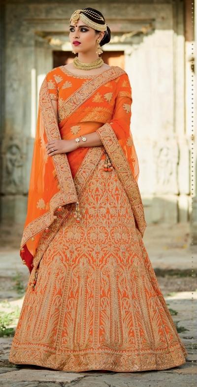 Orange color silk bridal lehenga choli