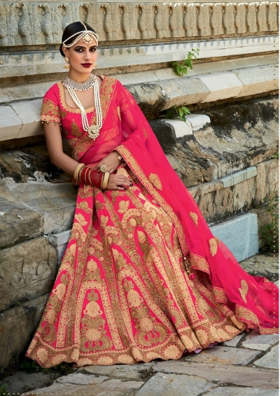 Pink color silk bridal lehenga choli
