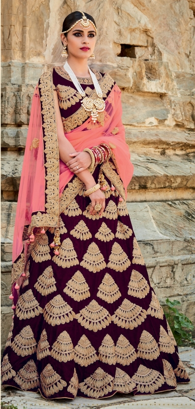 Purple and peach color velvet bridal lehenga choli