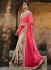 Beige and coral pink tussar silk saree