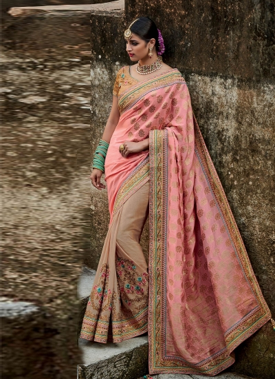 Beige and peach jacquard silk Indian bridal saree