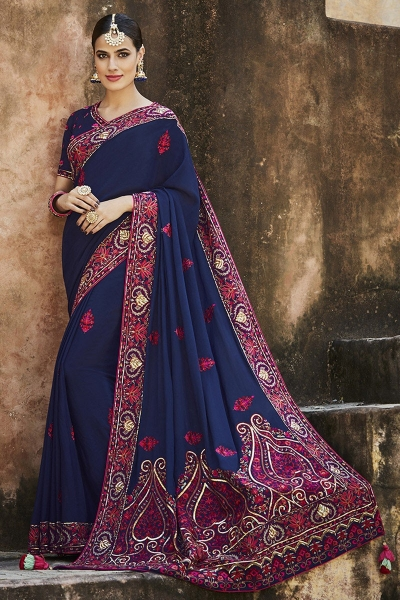 Navy blue crepe silk wedding saree