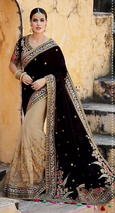 Black and beige tussar silk wedding saree