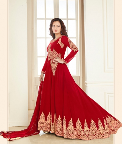 Dia Mirza Groovy Red Georgette Designer Anarkali Suit