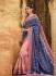 Blush pink and navy blue jacquard gadhchola Indian wedding saree