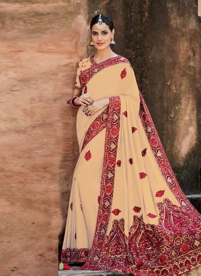 Cream crepe silk wedding saree