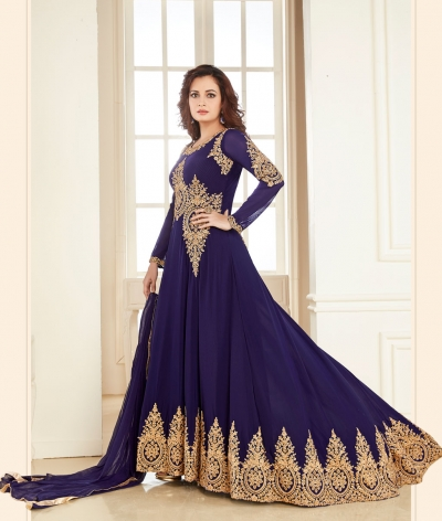 Dia Mirza Blue Georgette Designer Anarkali Suit