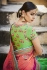 Ferozi green and orange tussar silk wedding saree