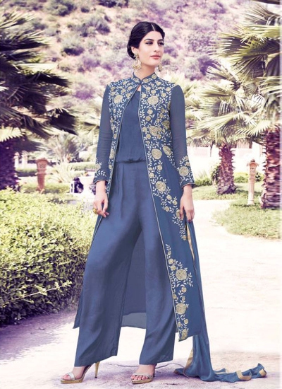 Blue color georgette party wear salwar kameez