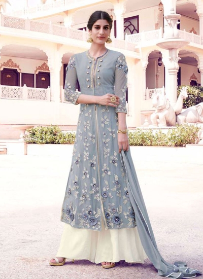 Grey and off white georgette party wear salwar kameez