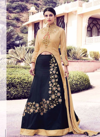 Beige and black georgette party wear lehenga kameez
