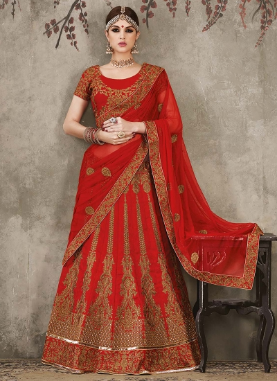Red color pure silk bridal lehenga choli
