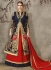 Navy blue and red pure silk bridal lehenga choli