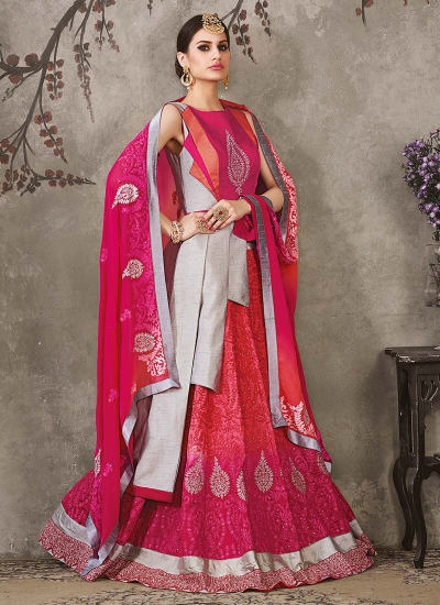 Grey and pink pure silk bridal lehenga choli