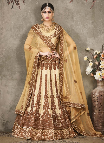 Cream color pure silk bridal lehenga choli