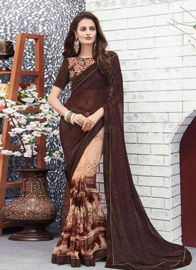 Brown color georgette casual wear saree
