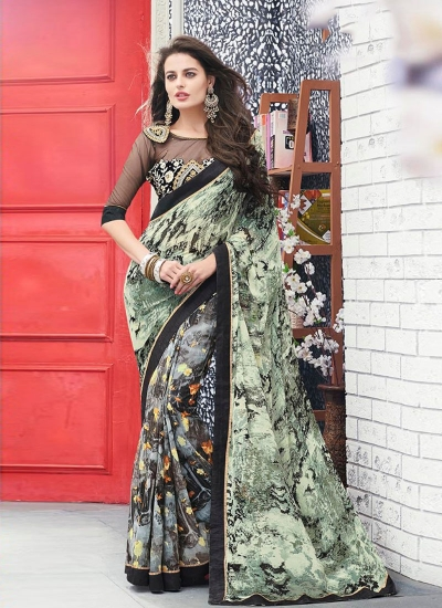 Green color georgette casual wear saree