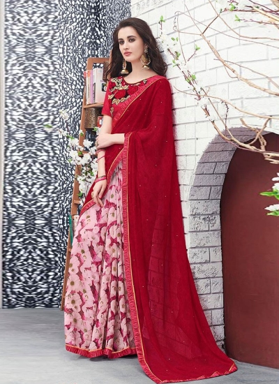 Red and white georgette casual wear saree