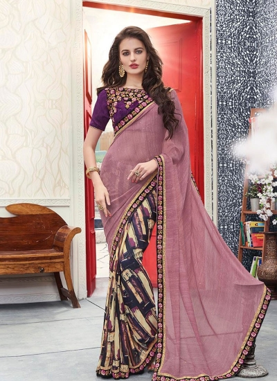 Purple and pink georgette casual wear saree