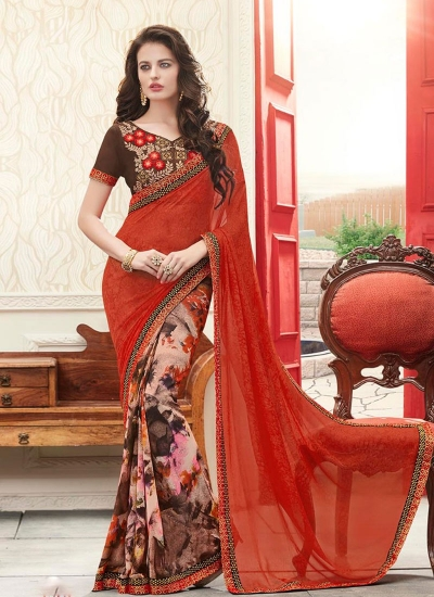 Orange and multi color georgette casual wear saree