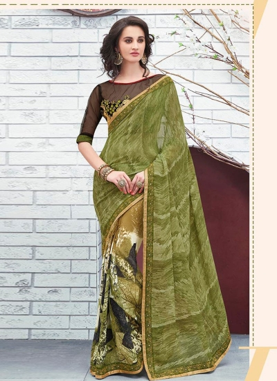 Olive green georgette casual wear saree