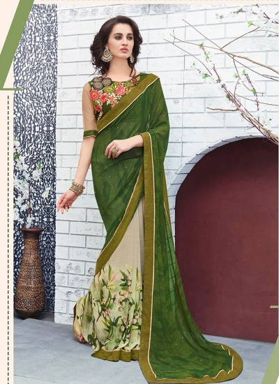 Green and offwhite georgette casual wear saree